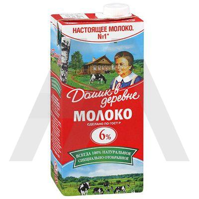 Молоко 6%   0.95л ДОМИК В ДЕРЕВНЕ ультрапастеризованное   1/12