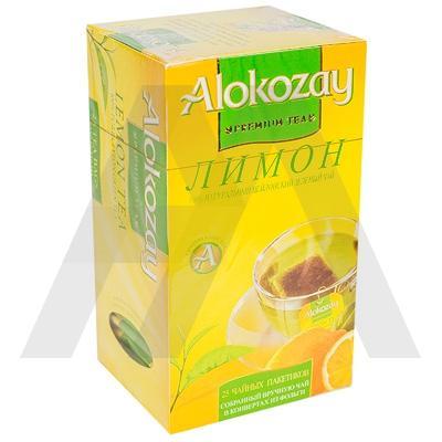 Чай зеленый пакетированный   25 шт в индивидуальной упак С ЛИМОНОМ   ''ALOKOZAY''   1/24
