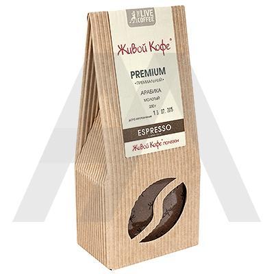 Кофе молотый   200г ESPRESSO PREMIUM твердая упаковка   ''ЖИВОЙ КОФЕ''   1/1